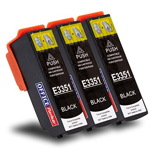 Multipack 3 Cartuchos de Tinta compatibles para Epson T3351 Negro 24ml, para Epson Expression Premium XP-530, XP-540, XP-630 Series, XP-635, XP-640, XP-645, XP-830, XP-900