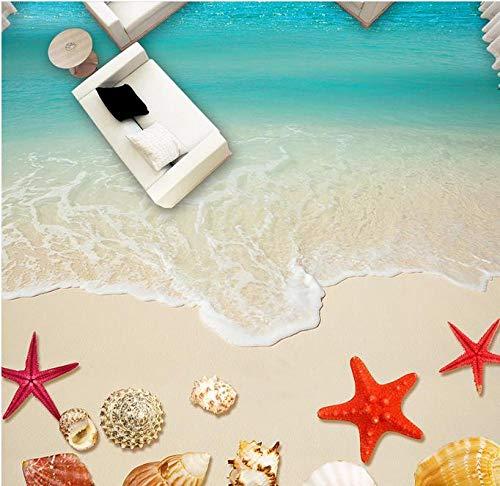 Adhesivo De Suelo Pvc 3D Decorativo Suelo 3D Personalizado Playa Mariscos Estrella De Mar Papel Tapiz Murales 3D Baldosas De Suelo Foto Pared Mura Suelo De Baldosas Baño-300 * 210 Cm Para El Dormito