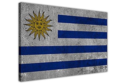 Cuadro enmarcado con bandera de Uruguay sobre lienzo, 18 mm de grosor, 76 cm x 50 cm