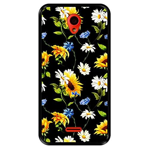 Hapdey Funda Negra para [ Wolder Wiam 23 ] diseño [ Patrón Floral, Flores Multicolores 2 ] Carcasa Silicona Flexible TPU