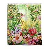 MyDaily Frühlings-Duschvorhang mit mehrfarbigen Blumen, 152,4 x 182,9 cm, schimmelresistent & wasserfest, Polyester-Dekoration