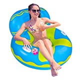 Inflatable Pool Float,Lake Float,Lake Float,Air Sofa Floating Chair,Ideal for Adults and Children for Water Parties and Water Recreation,with Very deep Drink Holders(Patent Product,105x105x70cm)