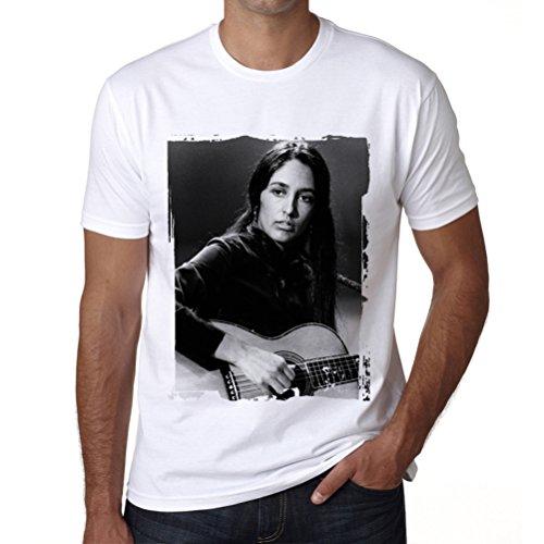 Joan Baez, Camiseta para Las Hombres, Manga Corta, Cuello Redondo, Blanco