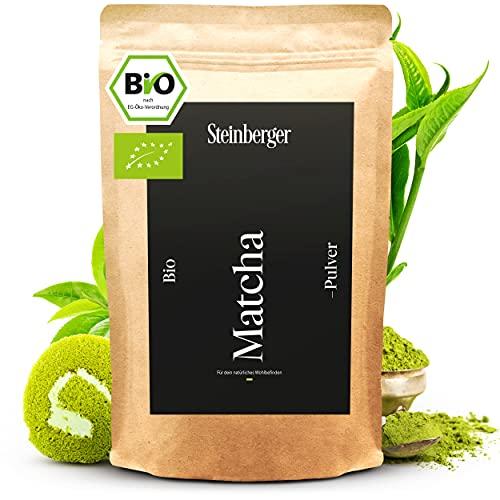 BIO Matcha Tee Pulver von Steinberger I Cooking-Qualität I Original japanisches Grüntee Matcha Pulver I 100 g im wiederverschließbaren Aromapack