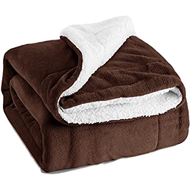 Bedsure Sherpa Throw Blanket Brown 50 x60  Reversible Fuzzy Bed Throws Microfiber All Seasons Luxury Fluffy Blanket for Bed or Couch