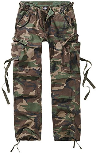 Brandit Pantalones M65 Chica Pantalones Cargo Camuflaje Woodland W32L34