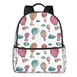 Hand Painted Style Cute Floating Mountain Bicycle Laptop Backpack Fashion Theme School Backpack