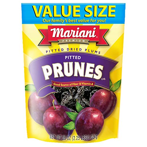Mariani Pitted Prunes -36oz (Pack of 1) –Sweet & Tender Superfruit, No Sugar Added, Good Source of Dietary Fiber, Gluten Free, Vegan, Fat Free, Cholesterol Free, Non-GMO, Resealable Bag -Healthy Snack for Kids & Adults