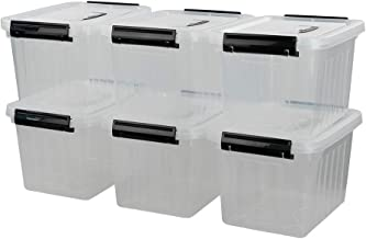 Asking 6 L Plastic Clear Plastic Storage Box with Lid and Latch, 6-Pack