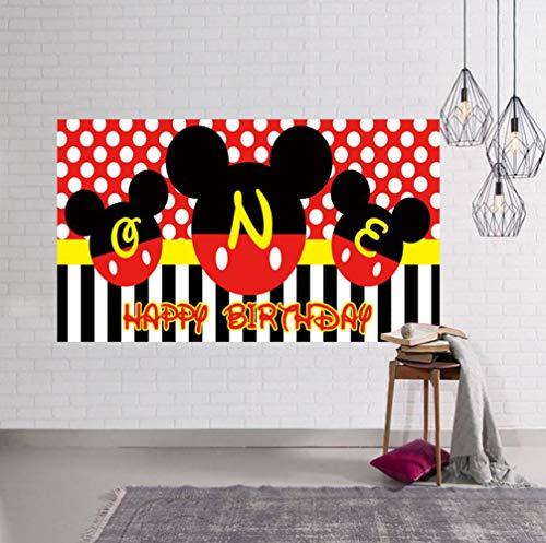 Mickey Mouse Hintergrund, Mickey 1. Geburtstag Hintergrund, Mickey Birthday Party Supplies, Große Mickey Mouse 1. Geburtstag Banner, Mickey Mouse Fotografie Hintergrund (2 x 1 m)