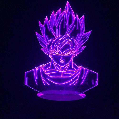 Luces nocturnas 3D Illusion de siete dragones bola ZGoku lámpara de noche, USB LED mesa Touch Control Home 3D Artes lámpara, 7 colores cambiantes decoración noche luz regalos