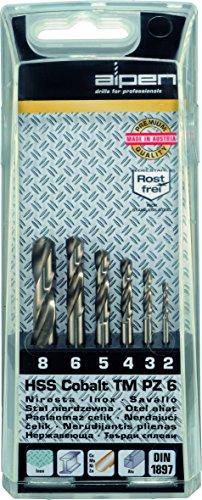 Bohrer / HSS Cobalt Spiralbohrer Set TM PZ 6, 6-teilig | selbstzentrierend durch Spezialanschliff, kobaltlegiert mit verstärktem Kerndurchmesser, für zähe, harte Werkstoffe | Ø 2 / 3 / 4 / 5 / 6 / 8 mm