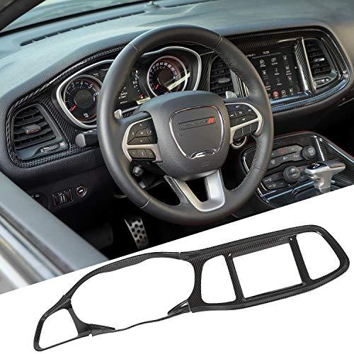 JeCar Dashboard Center Console Navigation Trim Panel Decoration Kit Exterior Decals Sticker Accessories for Dodge Challenger 2015-2020 Carbon Fiber Pattern