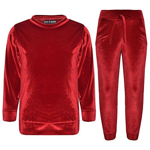 A2Z 4 Kids® Lounge Pak voor meisjes kinderen designer velours rood top & onderste lounge pak trainingspak leeftijd 5 6 7 8 9 10 11 12 13 jaar