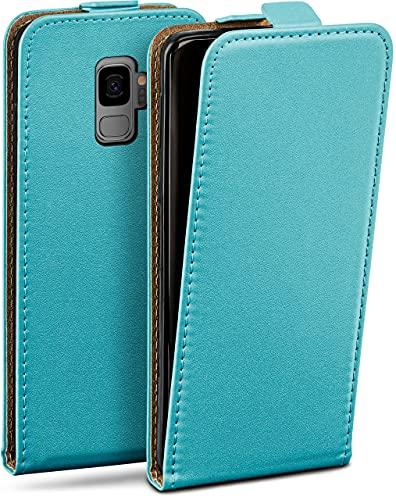 moex Flip Hülle für Samsung Galaxy S9 Hülle klappbar, 360 Grad R&um Komplett-Schutz, Klapphülle aus Vegan Leder, Handytasche mit vertikaler Klappe, magnetisch - Türkis