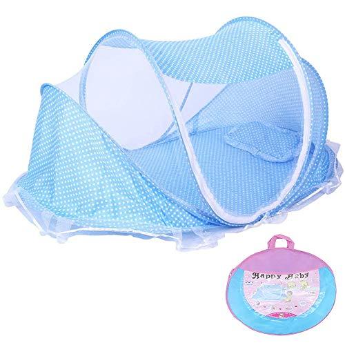 ShawFly Baby-Reisebett, tragbares Babybett, zusammenklappbares Babybett mit Kissen-Moskitonetzen für 0-24 Monate Baby Blue