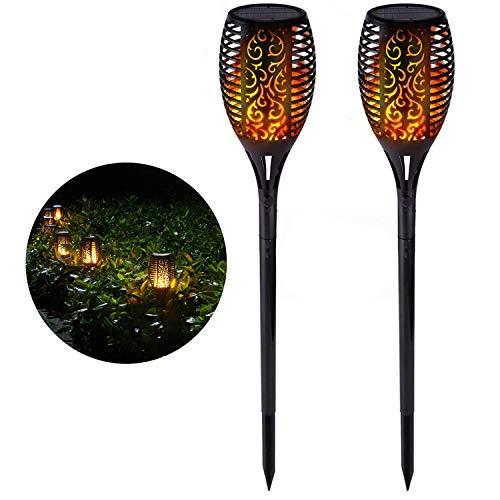 XZN Lampe Solaire Exterieur Jardin Torche Effet de Flamme Eclairage Exterieur Scintillant et IP65 Imperméable 96 LED Lampe Torche Solaire Décoration de Jardin (2 pièces)