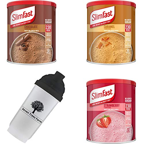 SlimFast KIT Made of 4 Products, High Protein Meal Replacements Shakes (Caramel 292g, Strawberry 292g, Chocolate 300g, ), and 1 x Seven Trees Farm Shaker 700ml