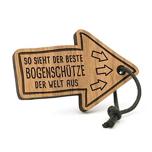 Fashionalarm Schlüsselanhänger So Sieht der Beste Bogenschütze der Welt aus | Pfeil aus Holz mit Gravur | Geschenk Idee Bogen Schießen Hobby