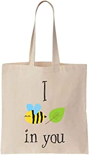 I Bee Leaf In You Cute Design Cotton Canvas Tote Bag