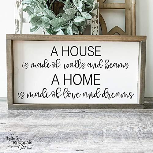 Ced454sy A House is Made of Walls and Beams Panneau de Famille pour Pendaison de crémaillère, décoration de Maison et de Ferme, Cadeau pour Maman