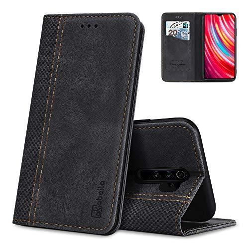 AKABEILA Redmi Note 8 Pro Hülle Leder, Redmi Note 8 Pro Handyhülle Silikon, Kompatibel für Xiaomi Redmi Note 8 Pro Schutzhülle Brieftasche Klapphülle PU Magnetverschluss Kartenfächer Hüllen, Schwarz