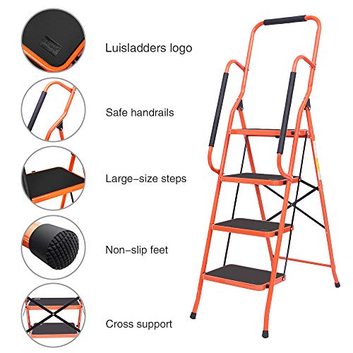 LUISLADDERS 4 Step Stool Ladder Foldable Tool Ladder Safety Padded Handrails with Detachable Tool Bag Wide Pedals Suitable Kitchen and Home (330lbs)