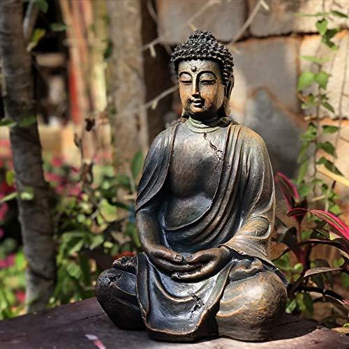 HZLQ Estatuas para jardín Escultura De Buda Artificial De Resina Impermeable Jardín Esculturas para La Yarda del Césped del Paisaje Adornos 24 * 20 * 38 Cm -Prima