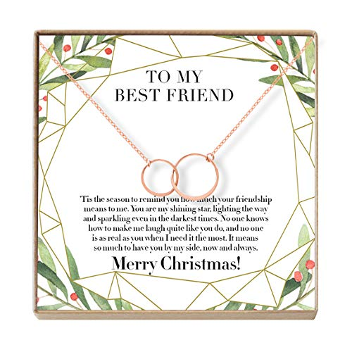 Dear Ava for Best Friend: Present, BFF Necklace, Xmas Gift, 2 Asymmetrical Circles (Rose-Gold-Plated-Brass, NA)