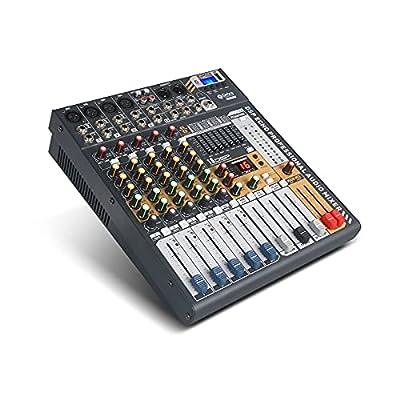 Debra Audio 6/8/12 Channel Clean Sound Bluetooth Studio Mixer Audio - DJ Sound Controller Interface USB Drive PC Recording Input, XLR Mic Jack, 48V Power, (6 Channel)