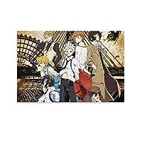 文豪ストレイドッグスアニメポスターと帆布プリント装飾画絵壁家の装飾アンフレーム08×12インチ(20×30cm)