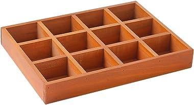 Cabilock 12 grilles boîte de Rangement en Bois boîte à Bijoux boîte de Rangement en Bois diviseur boîte tiroir Organisateur d