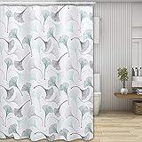 Molbory Duschvorhänge, Waschbar Badvorhänge aus Polyester, Wasserdicht Anti-Schimmel, Anti-Bakteriell mit 12 Duschvorhangringe Design, 180 x 180cm(Ginkgo biloba)