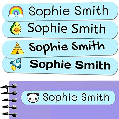 50 Etiquetas Adhesivas Personalizadas, de 6 x 1 cms, para marcar objetos, libros, fiambreras, etc. Color Azul Pastel
