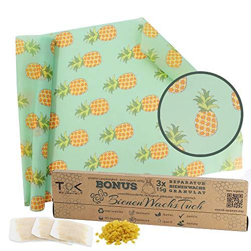 TOK® Bienenwachstuch XL Rolle, Natur Bienenwachs Rolle, wiederverwendbar, waschbar - Beeswax Wrap, Wachspapier inkl. 3 x 15g Reparaturwachs & Schnittmuster (Ananas)