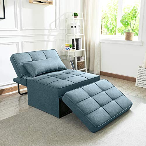 Vonanda Sofa Bed, Convertible Chair 4 in 1 Multi-Function Folding Ottoman Modern Breathable Linen Guest Bed with Adjustable Sleeper for Small Room Apartment,Denim Blue