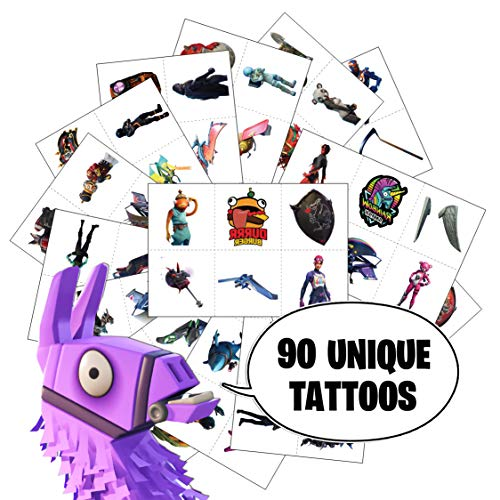 Video Game Party Favors by Citadel Black - Temporary Tattoos for Boys Birthday - 90 Tattoos Pack of 15 - Battle Royale Birthday Parties