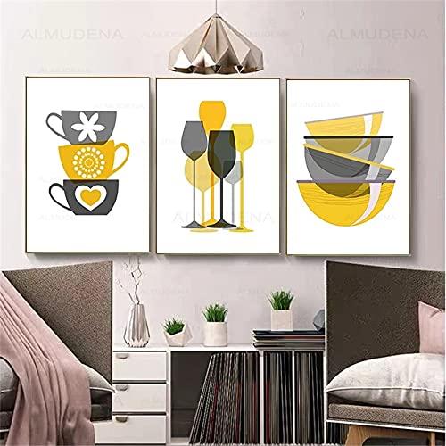 Póster de vajilla de cristal abstracto nórdico e impresión escandinavo lienzo pintura de pared para comedor decoración del hogar 50 x 70 cm x 3 piezas sin marco