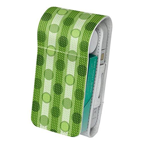 スマコレ iQOS アイコス レザーケース 【従来型/新型 2.4PLUS 両対応】 タバコ 専用 ケース カバー 合皮 カバー 収納 チェック・ボーダー 模様 緑 002434