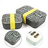NATUMO Premium Lunchbox Brotdose 2er Set Dicht Bpa Frei Bento Box Dosen Brotbox Essensbox Bambus Brotzeitbox Bambus Holz Frischhaltedose Mit Unterteilung Trennwand Groß Klein Kleine...