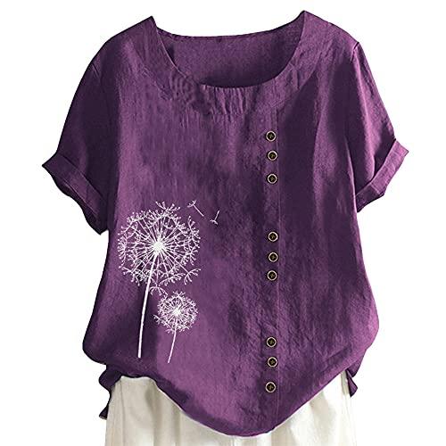 Nueva Camiseta de túnica de Lino de algodón para Mujer Tops de Jacquard Lino Gran tamaño Blusas de Verano de Talla Grande para Mujer Jersey de Manga Corta y Lino Suelto Camiseta de Cuello Redo