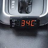 OIUYT Coche electrónico automático del Reloj del termómetro del Coche Reloj Luminoso del Adorno de decoración (Color : Black)