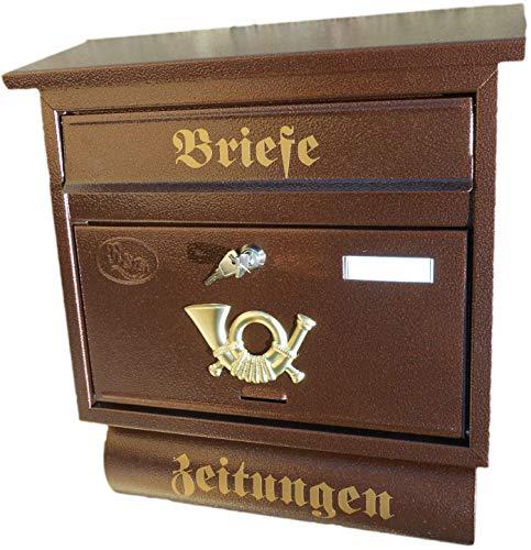 R&D Großer Briefkasten/Postkasten XXL Kupfer mit Abnehmbarer Zeitungsrolle Flachdach Katalogeinwurf Zeitungsfach (Kupfer)
