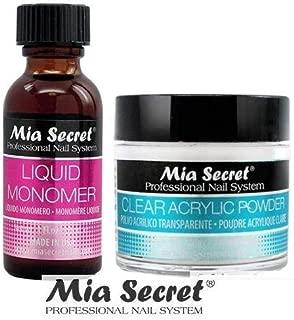 Mia Secret Acrylic Nail Powder Clear + Liquid Monomer 1 oz Set - USA