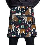 Bulldogs ingleses Vacaciones de Navidad Tienda de manicura unisex Delantales cortos de cocina Monos sin mangas Portátiles con bolsillo para cocinar, hornear, hacer manualidades, jardinería, barbacoa