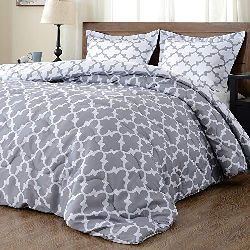 downluxe Lightweight Printed Comforter Set (Twin,Grey) with...
