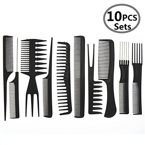 Hair Care Comb Anti Static Coarse Fine Toothed Tail Teasing Waves Pick Combs Set of 10Black