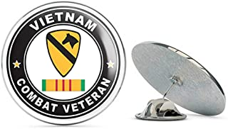 US Army 1st Cavalry Division Vietnam Combat Veteran with Ribbon Metal 0.75