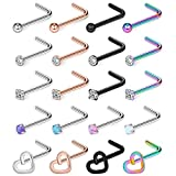 Ruifan 20PCS 20G 316L Surgical Steel Top Ball Opal CZ Heart Curved Nose Stud Ring L Shaped Piercing Jewelry
