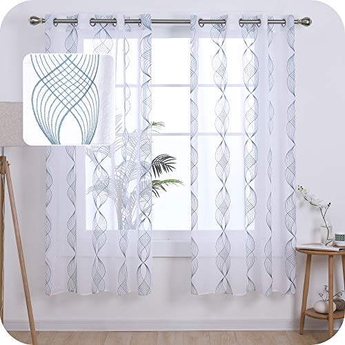 UMI Amazon Brand Cortinas Salon Translucidas de Dibujos Cinta Espiral con Ollaos 2 Piezas 140x175cm Azul Verde